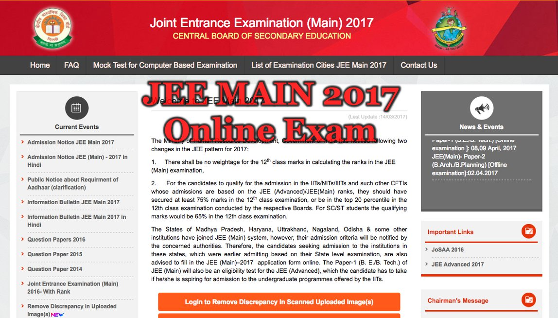 Important Instructions to be Followed at JEE Main 2017 Online Exam