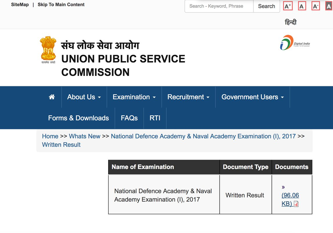 UPSC NDA Result 2017 declared, click here to check your roll no